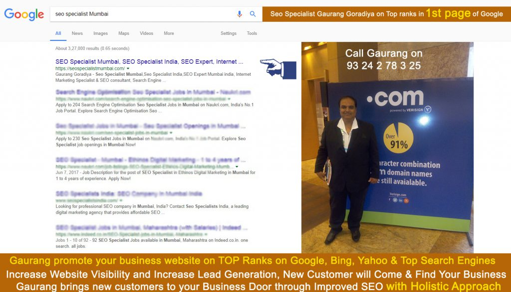 #SeoSpecialist Gaurang Goradiya on Top Ranks in 1st Page of Google
